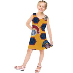 Husbands Cars Autos Pattern On A Yellow Background Kids  Tunic Dress
