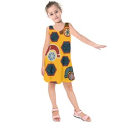 Husbands Cars Autos Pattern On A Yellow Background Kids  Sleeveless Dress
