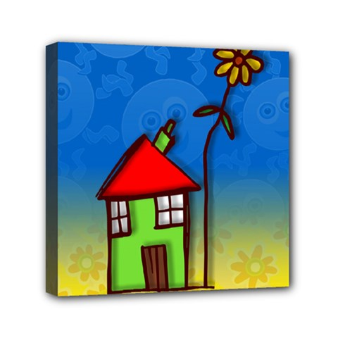 Colorful Illustration Of A Doodle House Mini Canvas 6  x 6
