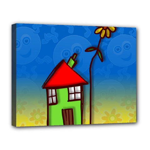 Colorful Illustration Of A Doodle House Canvas 14  X 11