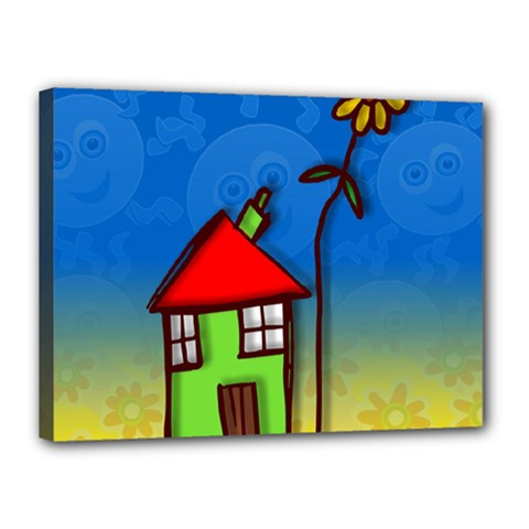Colorful Illustration Of A Doodle House Canvas 16  X 12