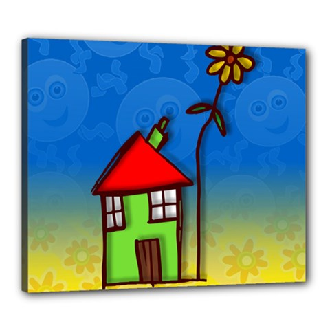 Colorful Illustration Of A Doodle House Canvas 24  x 20