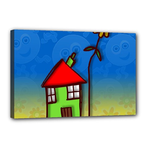 Colorful Illustration Of A Doodle House Canvas 18  X 12