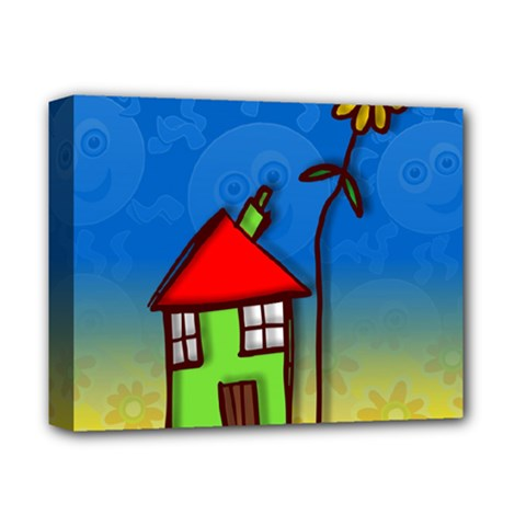Colorful Illustration Of A Doodle House Deluxe Canvas 14  X 11
