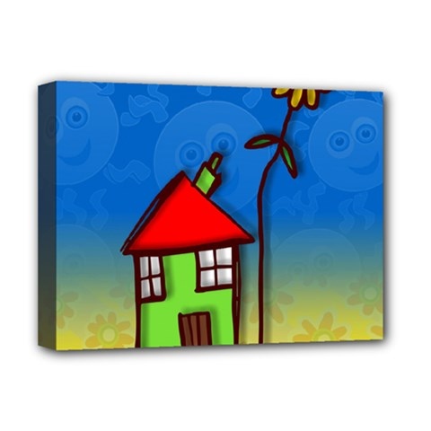 Colorful Illustration Of A Doodle House Deluxe Canvas 16  x 12