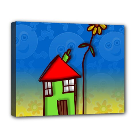 Colorful Illustration Of A Doodle House Deluxe Canvas 20  X 16