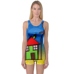 Colorful Illustration Of A Doodle House One Piece Boyleg Swimsuit