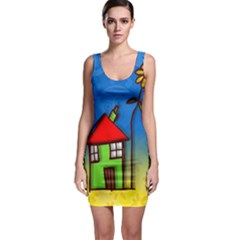 Colorful Illustration Of A Doodle House Sleeveless Bodycon Dress