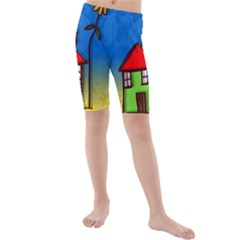 Colorful Illustration Of A Doodle House Kids  Mid Length Swim Shorts