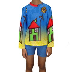 Colorful Illustration Of A Doodle House Kids  Long Sleeve Swimwear