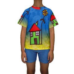 Colorful Illustration Of A Doodle House Kids  Short Sleeve Swimwear