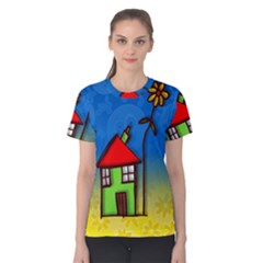 Colorful Illustration Of A Doodle House Women s Cotton Tee