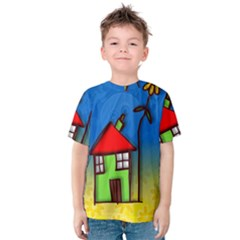 Colorful Illustration Of A Doodle House Kids  Cotton Tee