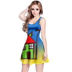 Colorful Illustration Of A Doodle House Reversible Sleeveless Dress