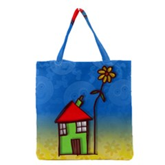 Colorful Illustration Of A Doodle House Grocery Tote Bag
