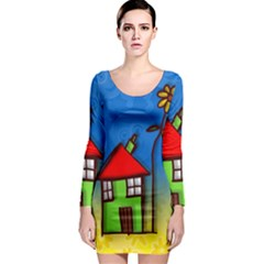 Colorful Illustration Of A Doodle House Long Sleeve Bodycon Dress