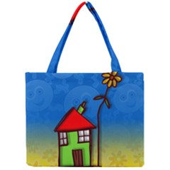 Colorful Illustration Of A Doodle House Mini Tote Bag