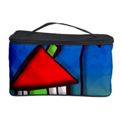 Colorful Illustration Of A Doodle House Cosmetic Storage Case