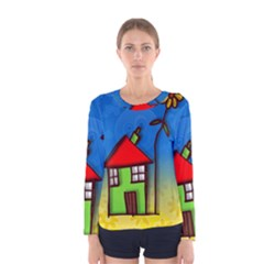 Colorful Illustration Of A Doodle House Women s Long Sleeve Tee