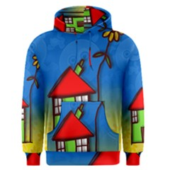Colorful Illustration Of A Doodle House Men s Pullover Hoodie
