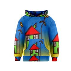 Colorful Illustration Of A Doodle House Kids  Pullover Hoodie