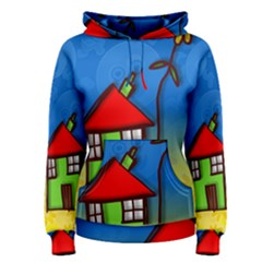 Colorful Illustration Of A Doodle House Women s Pullover Hoodie