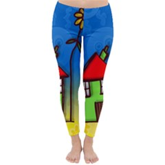 Colorful Illustration Of A Doodle House Classic Winter Leggings