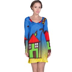 Colorful Illustration Of A Doodle House Long Sleeve Nightdress