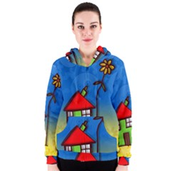 Colorful Illustration Of A Doodle House Women s Zipper Hoodie