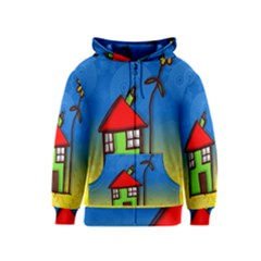 Colorful Illustration Of A Doodle House Kids  Zipper Hoodie