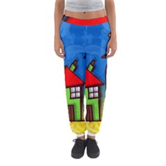 Colorful Illustration Of A Doodle House Women s Jogger Sweatpants