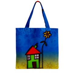 Colorful Illustration Of A Doodle House Zipper Grocery Tote Bag