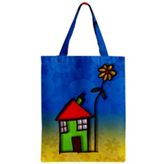 Colorful Illustration Of A Doodle House Zipper Classic Tote Bag
