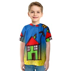 Colorful Illustration Of A Doodle House Kids  Sport Mesh Tee