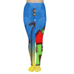 Colorful Illustration Of A Doodle House Women s Tights