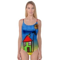 Colorful Illustration Of A Doodle House Camisole Leotard