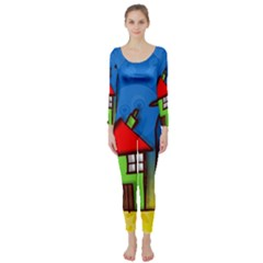 Colorful Illustration Of A Doodle House Long Sleeve Catsuit