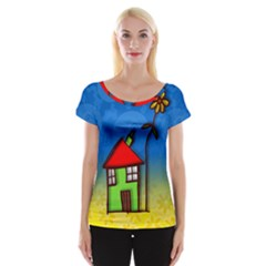 Colorful Illustration Of A Doodle House Women s Cap Sleeve Top