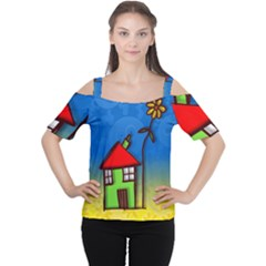 Colorful Illustration Of A Doodle House Women s Cutout Shoulder Tee