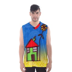 Colorful Illustration Of A Doodle House Men s Basketball Tank Top