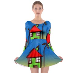Colorful Illustration Of A Doodle House Long Sleeve Skater Dress