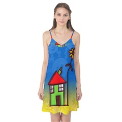 Colorful Illustration Of A Doodle House Camis Nightgown