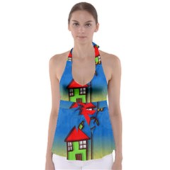 Colorful Illustration Of A Doodle House Babydoll Tankini Top