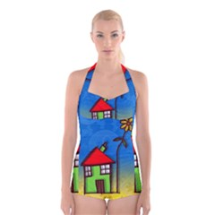 Colorful Illustration Of A Doodle House Boyleg Halter Swimsuit