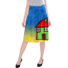 Colorful Illustration Of A Doodle House Midi Beach Skirt