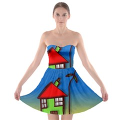 Colorful Illustration Of A Doodle House Strapless Bra Top Dress