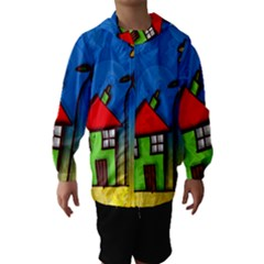 Colorful Illustration Of A Doodle House Hooded Wind Breaker (Kids)