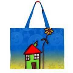 Colorful Illustration Of A Doodle House Large Tote Bag