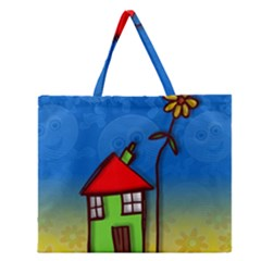 Colorful Illustration Of A Doodle House Zipper Large Tote Bag