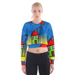 Colorful Illustration Of A Doodle House Cropped Sweatshirt